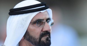 DUBAI, UNITED ARAB EMIRATES - MARCH 09:   Mohammed bin Rashid Al Maktoum looks on during Super Saturday at Meydan Racecourse on March 9, 2013 in Dubai, United Arab Emirates.  (Photo by Neville Hopwood/Getty Images)