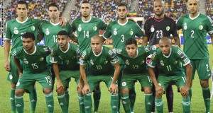 Algeria's players line up prior to the 2015 African Cup of Nations group C football match between Senegal and Algeria, on January 27, 2015 in Malabo. (From LtoR, upper to lower row) Algeria's defender Aissa Mandi, Algeria's defender Carl Medjani, Algeria's midfielder Nabil Bentaleb, Algeria's defender Faouzi Ghoulam, Algeria's goalkeeper Rais Mbolhi, Algeria's defender Madjid Bougherra, Algeria's forward El Arabi Soudani, Algeria's forward Riyad Mahrez, Algeria's midfielder Sofiane Feghouli, Algeria's midfielder Saphir Taider and Algeria's midfielder Yacine Brahimi.AFP PHOTO / ISSOUF SANOGO        (Photo credit should read ISSOUF SANOGO/AFP/Getty Images)