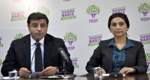 Co-chairs of the pro-Kurdish Peoples' Democratic Party (HDP), Selahattin Demirtas (L) and Figen Yuksekdag hold a news conference in Ankara, Turkey, November 1, 2015. Turkey looked set to return to single-party rule after the Islamist-rooted AK Party swept to an unexpected victory in elections on Sunday, an outcome that will boost the power of President Tayyip Erdogan but may sharpen deep social divisions.   REUTERS/Stringer/Turkey