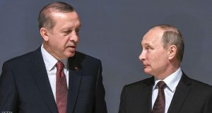 Russian President Vladimir Putin (R) listens to Turkish President Recep Tayyip Erdogan during the 23rd World Energy Congress on October 10, 2016 in Istanbul. Putin visits Turkey on October 10 for talks with counterpart Recep Tayyip Erdogan, pushing forward ambitious joint energy projects as the two sides try to overcome a crisis in ties.  / AFP / OZAN KOSE        (Photo credit should read OZAN KOSE/AFP/Getty Images)