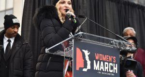 WASHINGTON, DC - JANUARY 21:  Madonna performs onstage during the Women's March on Washington on January 21, 2017 in Washington, DC.  (Photo by Theo Wargo/Getty Images)