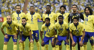 Saudi's Al-Nassr team pose for a team photo prior to their AFC Champions League group A football match against Iran's Persepolis team at the King Fahad stadium in Riyadh, on March 17, 2015. AFP PHOTO / FAYEZ NURELDINE        (Photo credit should read FAYEZ NURELDINE/AFP/Getty Images)